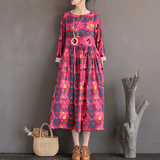 Babakud Vintage Cotton Linen Loose Printed Long Sleeve Dress Long Sleeve Dress