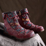 BABAKUD Vintage Ethnic Leather Casual Stitching Comfortable Flat Women's Boots 2019 September New 35 Red