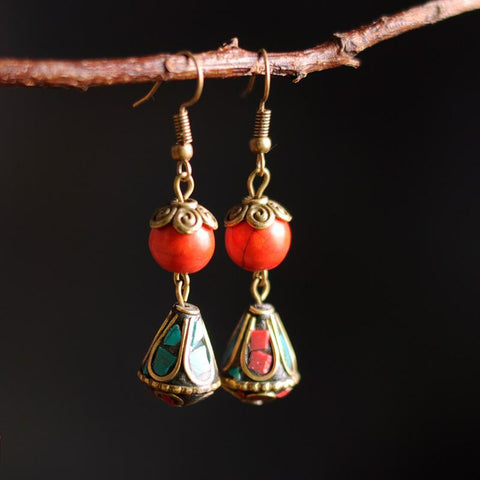 BABAKUD Vintage Ethnic Style Accessories Classical Earrings ACCESSORIES Red