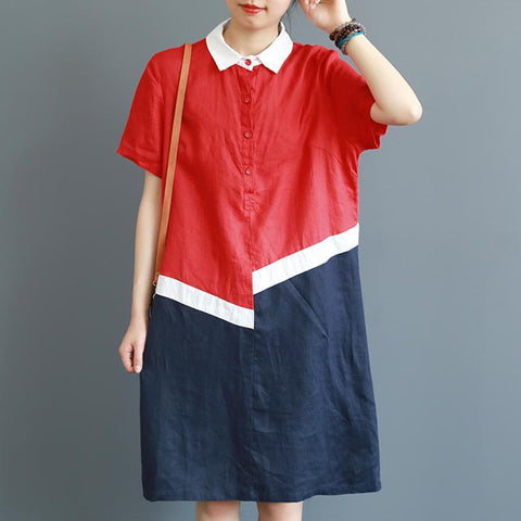 Babakud Vintage Loose Quilted Linen Casual Dress Short Sleeve Dress L Red