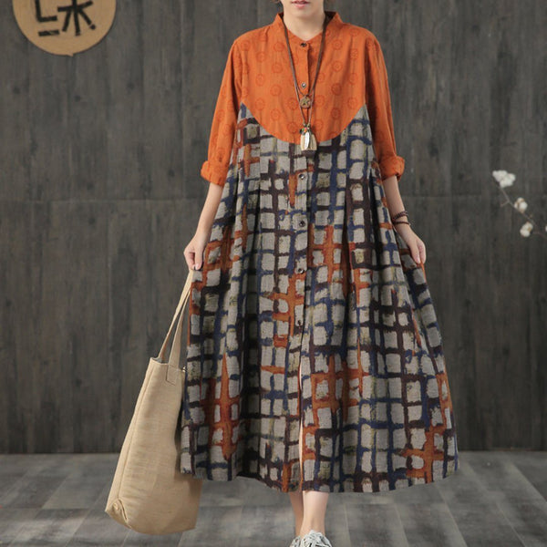 BABAKUD Vintage Printed Plaid Paneled Loose Long Sleeve Dress 2019 August New One Size Orange