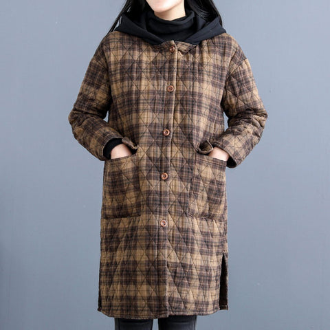 Babakud Vintage Rhombus Sewing Plaid Hooded Winter Coat 2019 October New One Size Khaki