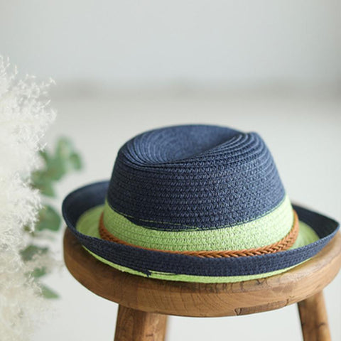 Babakud Vintage Woven Summer Cuffed Straw Hat ACCESSORIES One Size Navy