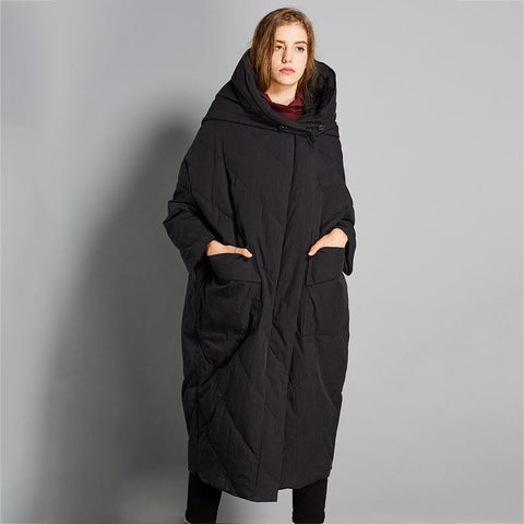 Babakud Winter Down Solid Hooded Coat With Pockets 2019 October New L Black