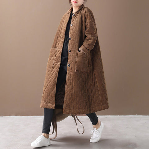 Babakud Winter Loose Casual Corduroy Outwear Coat 2019 September New One Size Coffee