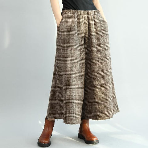 BABAKUD Winter Vintage Loose Plaid Cotton Linen Wide Leg Pants 2019 August New One Size Coffee