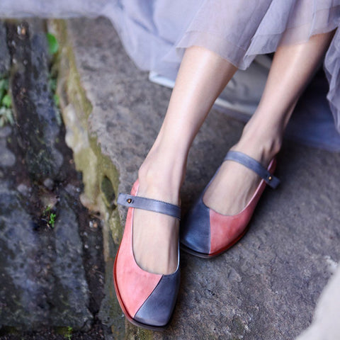 BABAKUD Women Autumn Chic Marry Jane Flats Shoes 2019 August New 35 Gray Pink