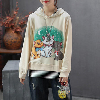 BABAKUD Women Cartoon Cat Printed Casual Loose Hoodie 2019 September New One Size Beige