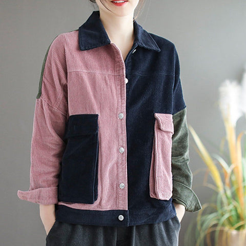 BABAKUD Women Color Block Corduroy Pockets Jacket Coat 2019 September New One Size Pink