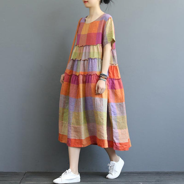 Babakud Women Colorful Plaid Linen Loose Dress 2019 Jun New One Size Colorful