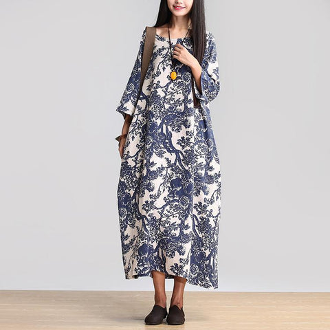 Babakud Women Cotton Linen Loose Casual Fitting Maxi Dress 2019 May New One Size Blue