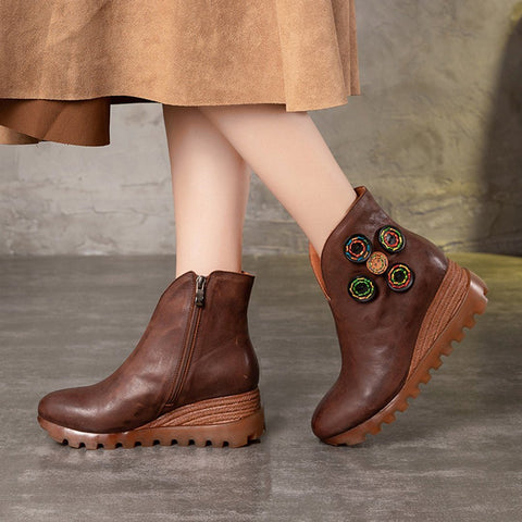 BABAKUD Women Leather Bottons Platform Retro Boots 2019 September New 35 Coffee