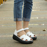Babakud Women Summer Sandals Casual Wedge Heel Shoes 2019 April New 35 White