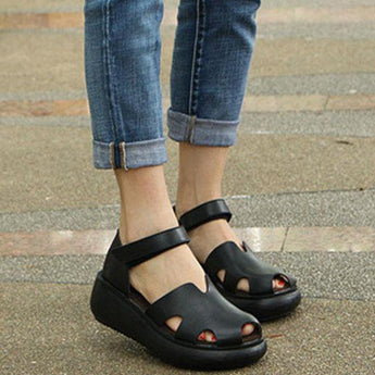 Babakud Women Summer Sandals Casual Wedge Heel Shoes 2019 April New 38 Black
