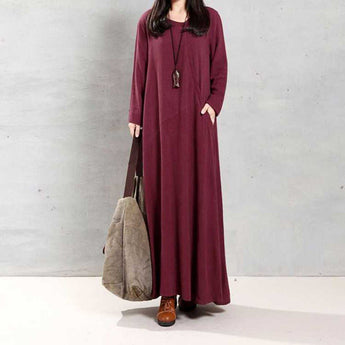 BABAKUD Women's Casual Loose Retro Long Sleeve Dress 2019 October New L Wine Red