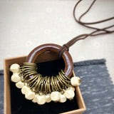 Babakud Wooden Circle Retro Beads Necklace For Women ACCESSORIES One Size Beige