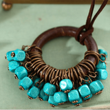Babakud Wooden Circle Retro Beads Necklace For Women ACCESSORIES One Size Blue