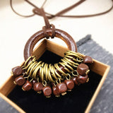 Babakud Wooden Circle Retro Beads Necklace For Women ACCESSORIES One Size Coffee