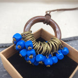 Babakud Wooden Circle Retro Beads Necklace For Women ACCESSORIES One Size Deep Blue