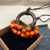 Babakud Wooden Circle Retro Beads Necklace For Women ACCESSORIES One Size Orange