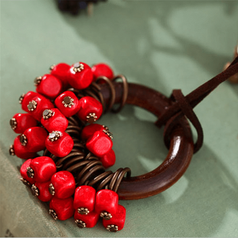 Babakud Wooden Circle Retro Beads Necklace For Women ACCESSORIES One Size Red