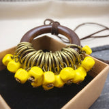 Babakud Wooden Circle Retro Beads Necklace For Women ACCESSORIES One Size Yellow