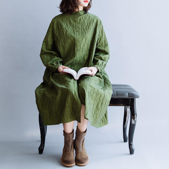Bark Texture Avocado Green Cotton Dress March-2020-New Arrival One Size Avocado Green