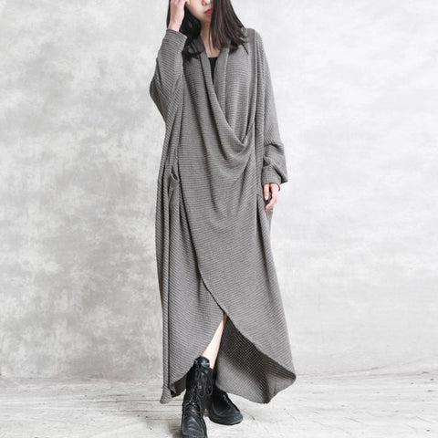 Bat Sleeve V-neck Irregular Long Dress Long Sleeve Dress