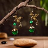 Bird And Beads Women Retro Alloy Earrings ACCESSORIES