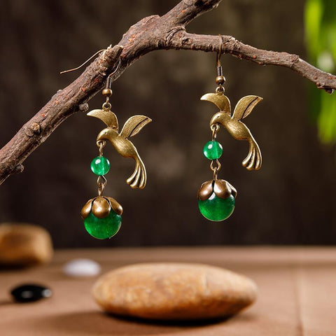 Bird And Beads Women Retro Alloy Earrings ACCESSORIES Green