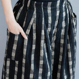 Black Plaid Loose Casual Quilted Wide-leg Pants pants