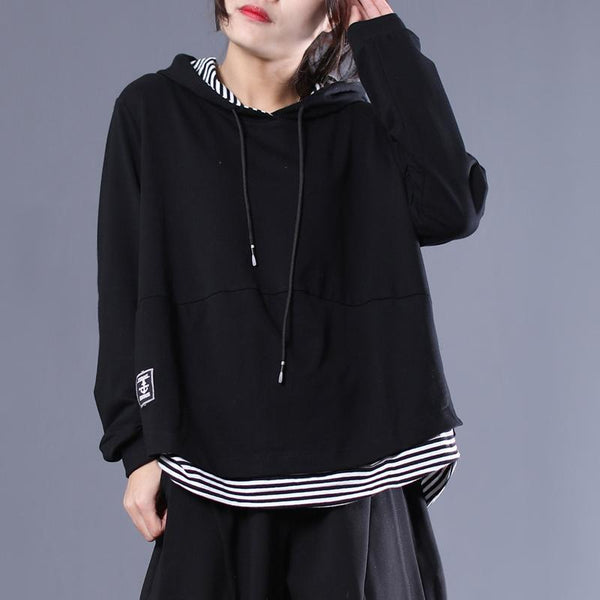 Black Stripe Patchwork Casual Pullover Hoodie 2019 April New M Black