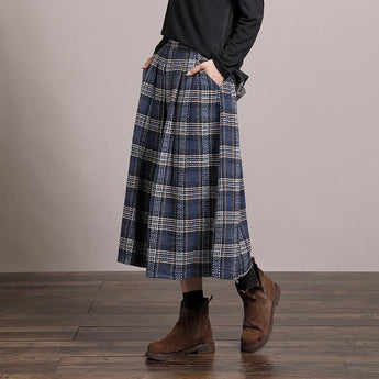 Blue And White Plaid Pleated Loose Dress Nov 2020-New Arrival Free Size BLUE
