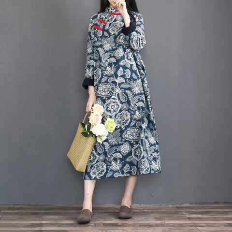 Blue Ethnic Style Vintage Thick Dress Long Sleeve Dress