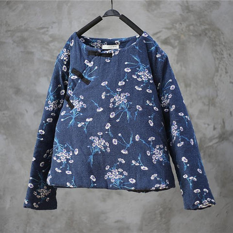 Blue Floral Retro Loose Women Quilted Coat Winter Coat