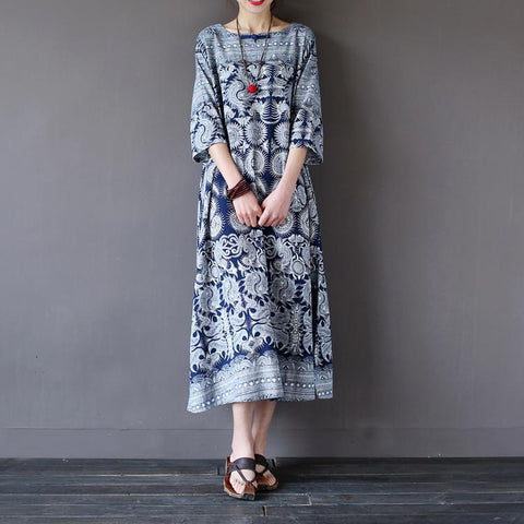 Blue Flower Vintage Women Dress Long Sleeve Dress