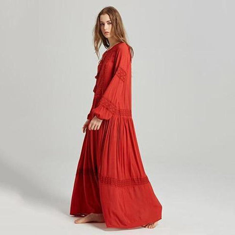 Bohemia Tassels Embroidery Long Sleeves Maxi Dress Maxi Dress S Red
