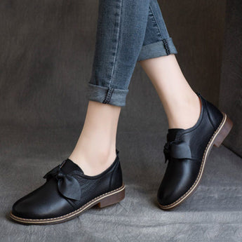Bow-Knot British Style Flats Shoes For Women 2020 New February 35 Black