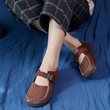 Buckle Retro Leather Handmade Women's Flats Jan 2021-New Arrival 35 Coffee