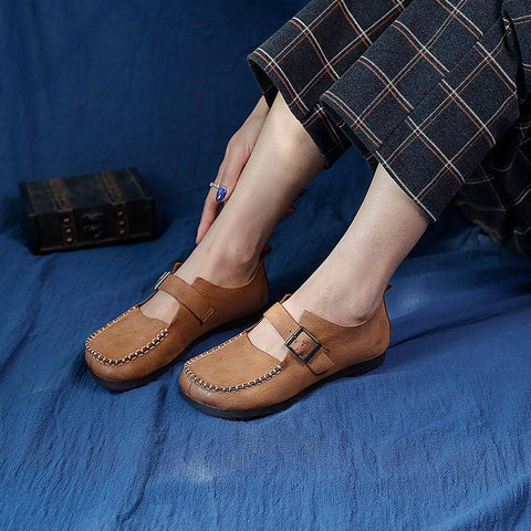Buckle Retro Leather Handmade Women's Flats Jan 2021-New Arrival 35 Khaki