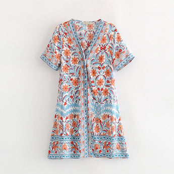 Buttons-up front Floarl Dress For Women May 2020-New Arrival S As The Picture