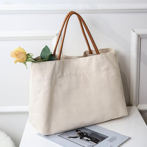 Canvas Large Capacity Shopping Bag Tote Bag July 2020-New Arrival L Beige Original
