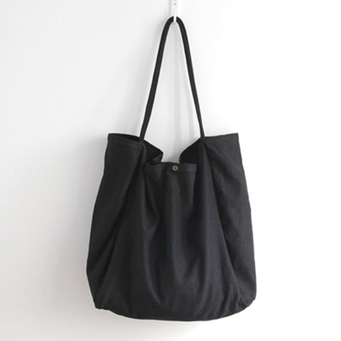 Canvas Solid Large Capacity Shoulder Bag Tote Bag ACCESSORIES Small Black