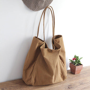 Canvas Solid Large Capacity Shoulder Bag Tote Bag ACCESSORIES Small Khaki