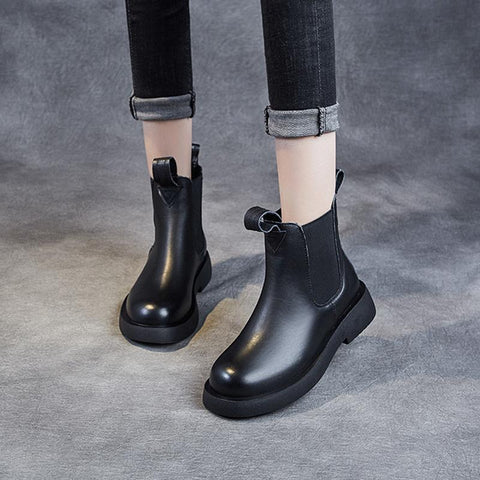 Casual Leather Chelsea Boots Nov 2020-New Arrival 35 BLACK