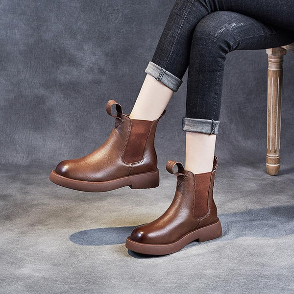 Casual Leather Chelsea Boots Nov 2020-New Arrival 35 BROWN