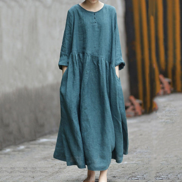 Casual Leisure Linen Dress 2019 New December One Size Dark Green