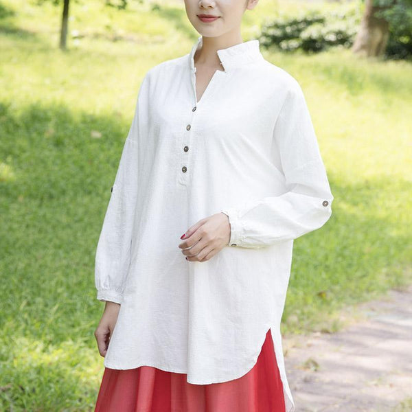 Casual Loose Women Literature Long Sleeves White Shirt Shirt
