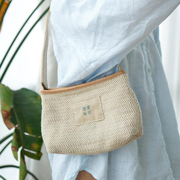 Casual One-shoulder Woven Canvas bag ACCESSORIES Beige