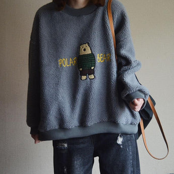 Causal Round Neck Cartoon Cotton Thick Sweatshirt Sweatshirt